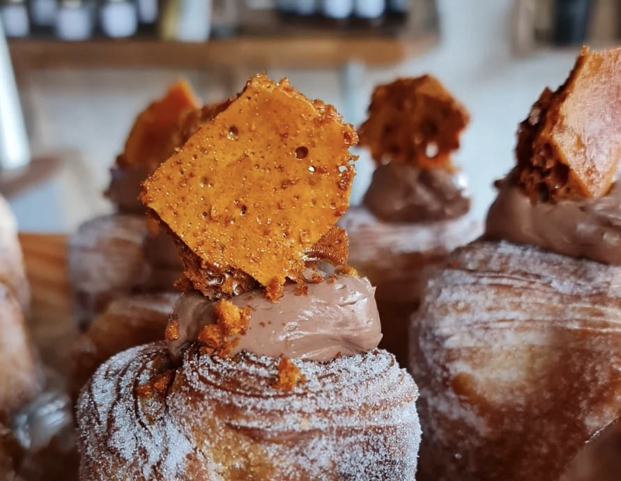 Our honeycomb cruffin with chocolate ganache